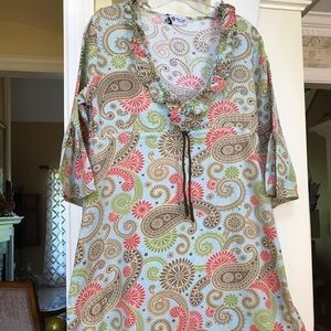 Mudpie colorful paisley design swimsuit cover up